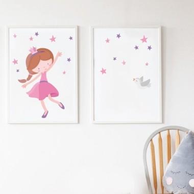Lot de 2 affiche chambre enfant - Princesse rose + Toile avec nom