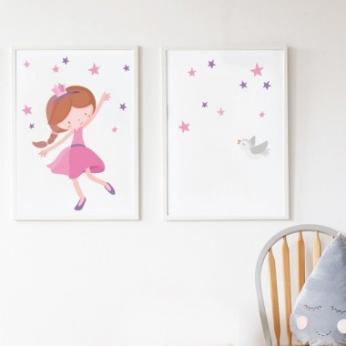 Pack de 2 láminas decorativas - Princesa infantil rosa + Lámina con nombre