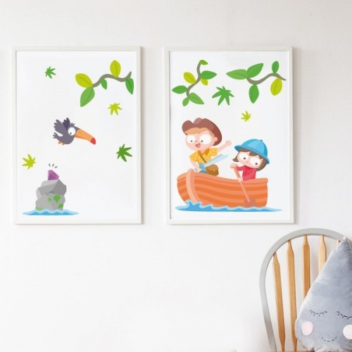 Lot de 2 affiche chambre enfant - Enfants explorateurs