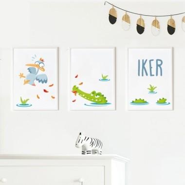 Lot de 3 affiche  pour enfants - Crocodile affamé Packs de láminas Dimensions (largeur x hauteur) A4 - 210 x 297 mm A3 - 297 x 420 mm A2 - 420 x 594 mm  Matériel: Impression sur toile Cadre: Optionnel     vinilos infantiles y bebé Starstick
