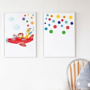 Lot de 2 toiles déco - Avion avec animaux + Confettis avec nom