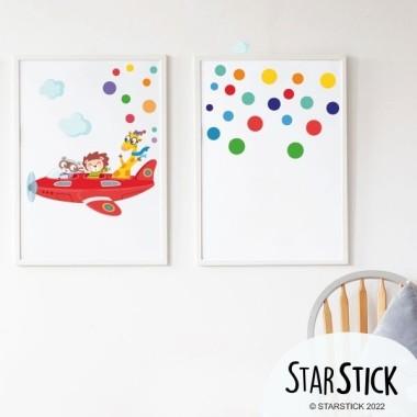 Pack de 2 láminas decorativas – Avión con animales + Confeti con nombre