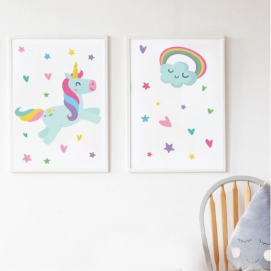 Pack de 2 làmines decoratives - Unicorn + Làmina amb nom