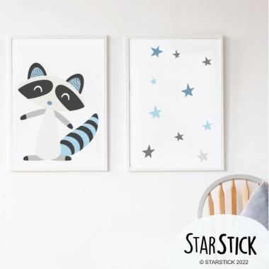 Pack de 2 láminas decorativas - Mapache estilo nórdico  + Lámina con nombre
