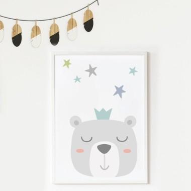 Lámina decorativa infantil - Dulce carita de osito durmiendo