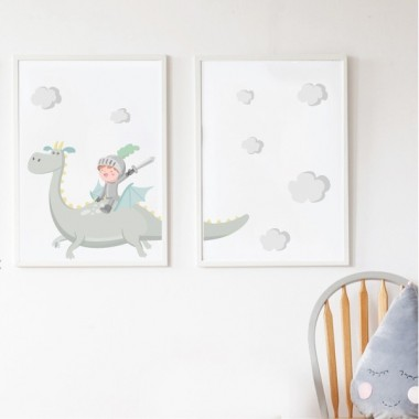 Lot de 2 affiche chambre enfant - The Magic Dragon et chevalier
