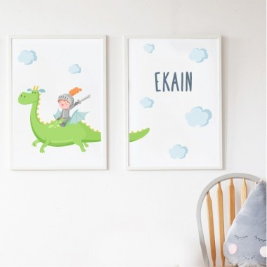 Lot de 2 affiche chambre enfant - The Magic Dragon et chevalier. Vert