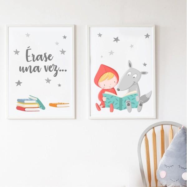 """Pack de 2 láminas decorativas - Caperucita y el lobo + Érase una vez… Packs de láminas Pack de 2 láminas infantiles con la caperucita y el lobo y la frase """"Érase una vez…"""". Láminas decorativas para dar un toque de color en zonas de lectura, espacios de juego, habitaciones de niño, niña o bebé… Ideas decorativas originales de StarStick. Medidas (ancho x alto) A4 - 210 x 297 mm A3 - 297 x 420 mm A2 - 420 x 594 mm  Material: Impresión sobre canvas Marco: Opcional vinilos infantiles y bebé Starstick"""