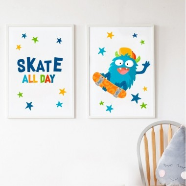 Lot de 2 affiche chambre enfant - Skater Monster