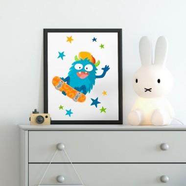 Lámina decorativa infantil - Monstruo skater