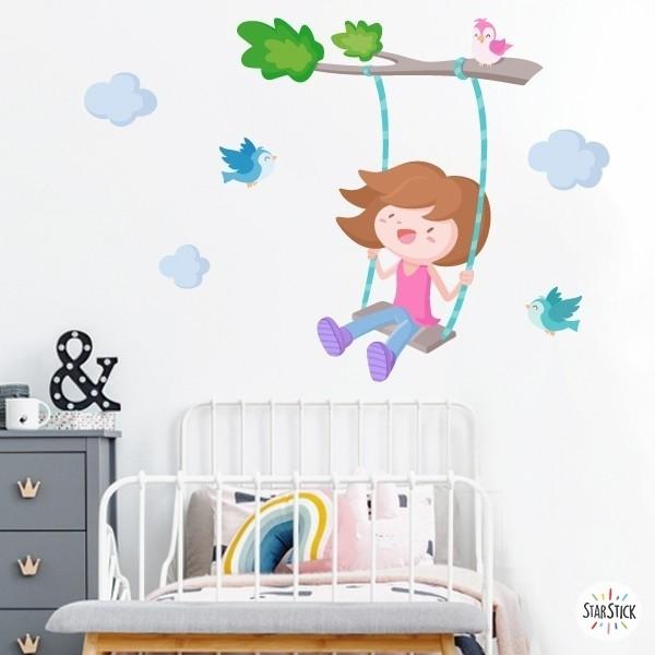 Arbre avec balançoire. Fille - Sticker enfant