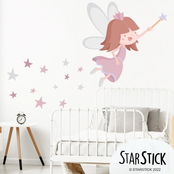 Sticker fille - Fée aux étoiles. Rose