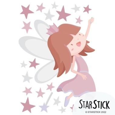 Vinilo niñas - Hada con estrellas. Rosa gris