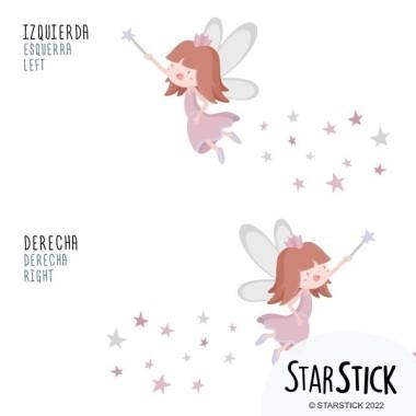 Sticker fille - Fée aux étoiles Stickers muraux pour filles Dimensions approximatives (largeur x hauteur) Basique: 70x50 cm Petit:125x85 cm Moyen:155x115 cm Gran:225x135 cm Géant:275x175cm  AJOUTE UN NOM POUR LE VINYLE À PARTIR DE 9,99€  vinilos infantiles y bebé Starstick