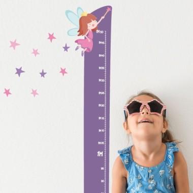 Fée avec étoiles - Sticker toise Toises Les Tailles Taille de la feuille:21x135 cm Taille du montage: 45x135 cm  Comprend 16 étiquettes pour marquer ce que vous voulez! vinilos infantiles y bebé Starstick