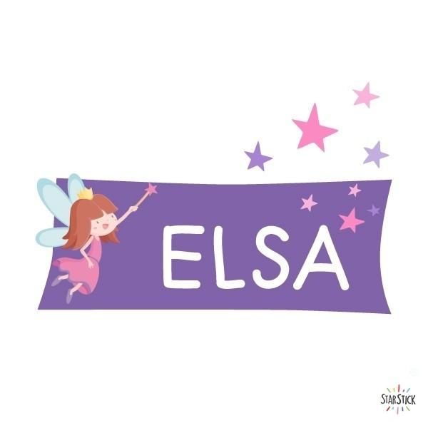 Nom Fée- Sticker nom de porte Stickers porte chambre Taillede la feuille/montage 1 prénom: 30x20 cm 2 prénoms:30x27 cm vinilos infantiles y bebé Starstick