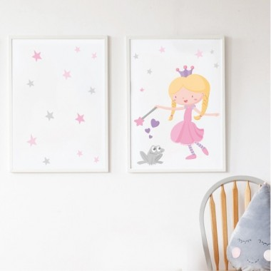 Pack de 2 làmines decoratives - Princesa i gripau gris + Làmina amb nom