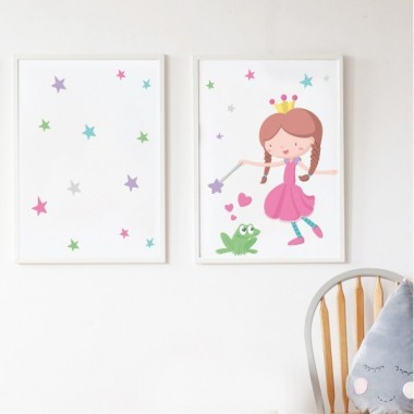 Pack de 2 làmines decoratives - Princesa i gripau verd + Làmina amb nom