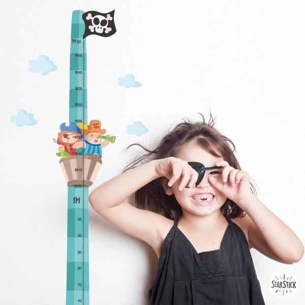 Sticker toise - Bateau pirate avec des animaux - Vinyle pour enfants
