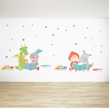Libros y estrellas - Vinilos infantiles de pared