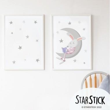 Pack de 2 làmines decoratives - Conillet llegint a la lluna