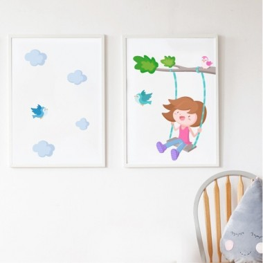 Lot de 2 affiche chambre enfant - Arbre avec balançoire. Fille