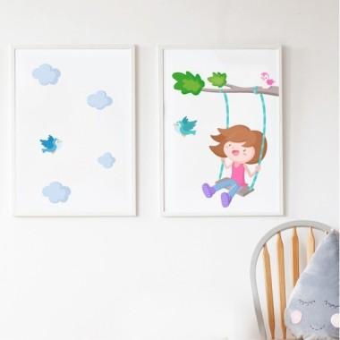 Pack de 2 láminas decorativas - Árbol con columpio. Niña