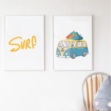Lot de 2 affiche chambre enfant - Van de surf