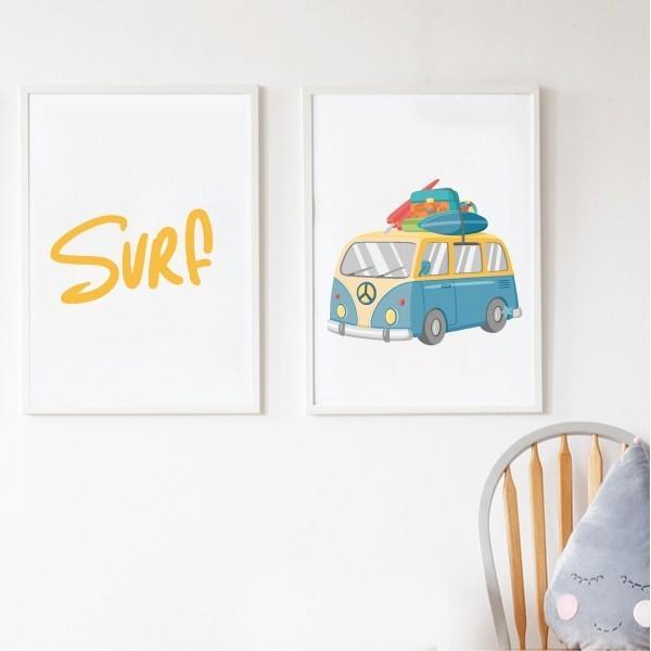 """Pack de 2 làmines decoratives - Furgo surfera Làmines amb nom Làmines decoratives al més pur estil surfer. Una làmina amb una furgoneta amb taules de surf i l'altra amb les lletres """"Surf"""" de color groc. Pack indivisible amb dues làmines per emmarcar. Mides (ample x alt) A4 - 210 x 297 mm A3 - 297 x 420 mm A2 - 420 x 594 mm    Material: Impressió sobre canvas Marc: Opcional vinilos infantiles y bebé Starstick"""