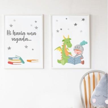 Pack de 2 làmines decoratives - Drac i cavaller llegint un conte + Hi havia una vegada