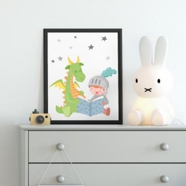 Làmina decorativa infantil - Drac i cavaller llegint un conte