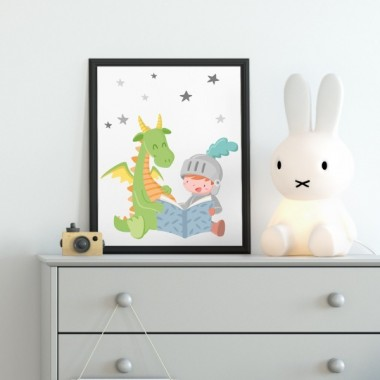 Lámina decorativa infantil - Dragón y caballero leyendo un cuento