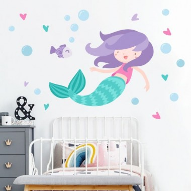 Vinilos infantiles para niña sirena - Vinilos decorativos infantil