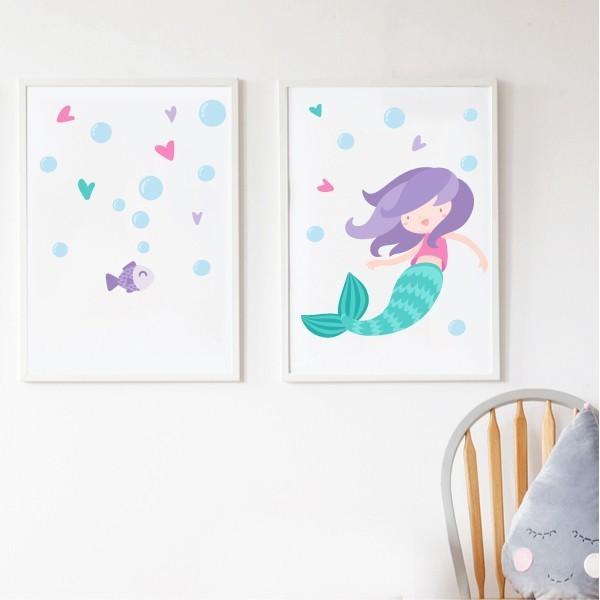 Pack de 2 láminas decorativas - Niña sirena