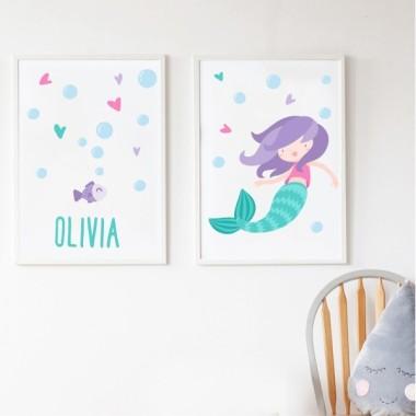 Lot de 2 affiche chambre enfant - Sirène