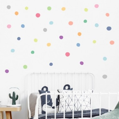 Confeti irregular. Tons pastel - Vinil decoratiu amb rodones de colors