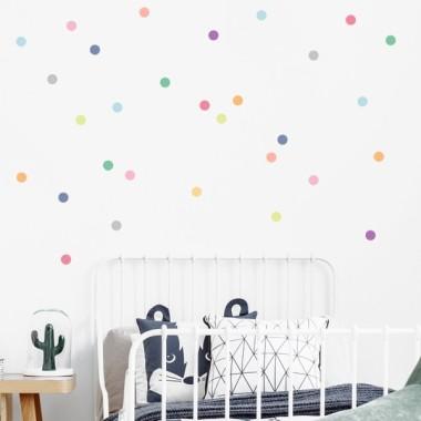 Mini confeti de colores. Tonos suaves - Vinilos decorativos con mini lunares de colores