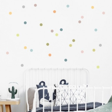Mini confeti de colores. Nature - Vinilos decorativos con mini lunares de colores