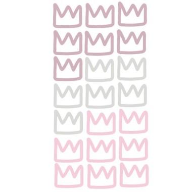 """Vinil corones. 3 Colors per escollir - Vinils decoratius Vinils per nenes Vinil decoratiu amb 21 corones. Es poden adquirir totes en un sol color o fins a tres combinacions de colors. 21 corones de 9x7 cmMida de la làmina: 60x30 cmMida del muntatge: 150x100 cm  1. Escull 1, 2 o 3 colors de la taula2. Escriu-los en el camp inferior i prem """"Desar""""3. Afegeix el producte a la cistella i Llestos!   vinilos infantiles y bebé Starstick"""
