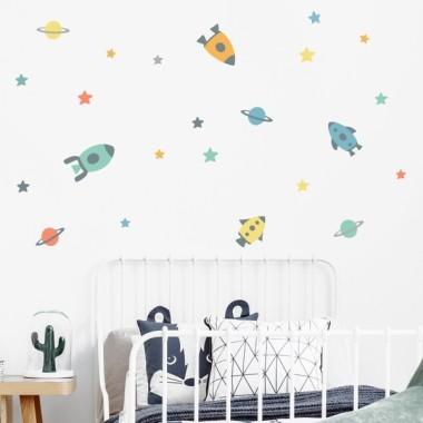 Vinilo niños - Pequeños cohetes en el espacio - Vinilos decorativos