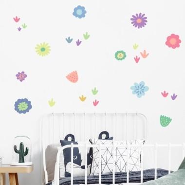 Vinilo decorativo con flores en tonos lila - Vinilos decorativos de pared