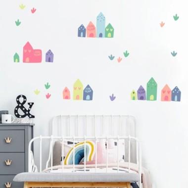 Petites maisons. Rose - Stickers décoratif