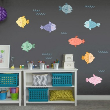 Vinilos infantiles decorativos - Peces de colorines - vinilos bebé