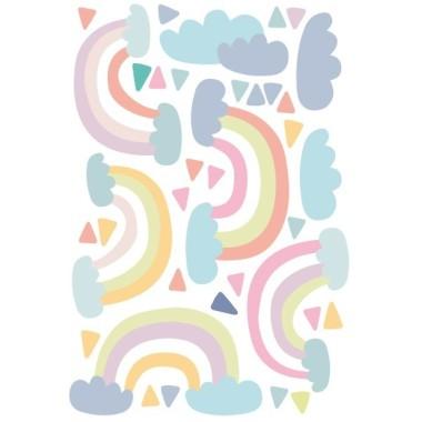 Arc de sant Martí - Vinils per a nenes i nadons Vinils nadó Vinil decoratiu amb núvols, arcs de Sant Martí i gotes de pluja de colors. Vinil en tons pastel, i un cert aire vintage, perfecte per decorar habitacions de nenes i nadons. Mesures del vinil 5 arc de Sant Martí entre 22 i 29 cm 3 núvols entre 13 i 18 cm d'ample 25 triangles entre 3 i 4 cm Mida de la làmina: 60x40 cm Mida del muntatge: 150x100 cm  AFEGEIX UN NOM PER EL VINIL DE 9,99€   vinilos infantiles y bebé Starstick