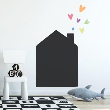 Stickers tableau noir - Petite maison avec des coeurs