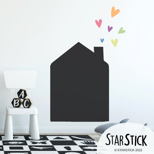 Sticker ardoise - Petite maison avec coeurs Sticker ardoise Les Tailles Petit: 49x76 cm Moyen: 63x98 cm Grand: 95x125 cm  vinilos infantiles y bebé Starstick