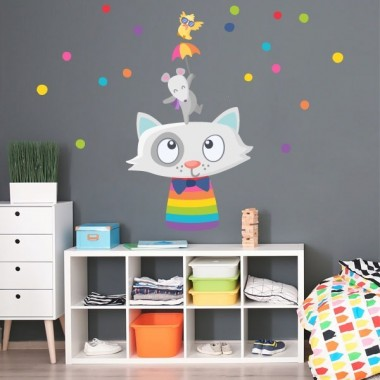 Alegres animals amb confeti - Vinils infantils decoratius