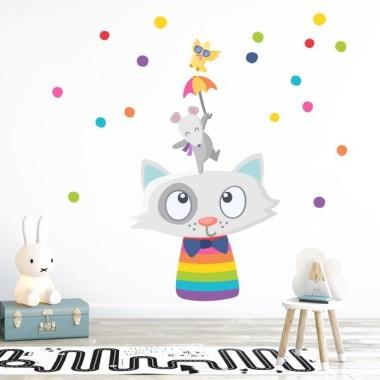 Animaux joyeux et confettis - Stickers muraux enfants