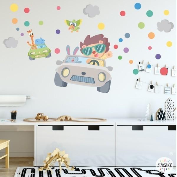 Stickers pour enfants - Voiture avec des animaux - Vinyle décoratif pour enfants