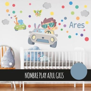 Stickers pour enfants - Voiture avec des animaux - Vinyle décoratif pour enfants Stickers enfants Dimensions approximatives (largeur x hauteur) Basique: 75x40 cm Petit: 110x65 cm Moyen:160x85 cm Grand: 240x120 cm Géant: 285x150 cm  AJOUTER UN PRÉNOM À PARTIR DE 9,95 € vinilos infantiles y bebé Starstick